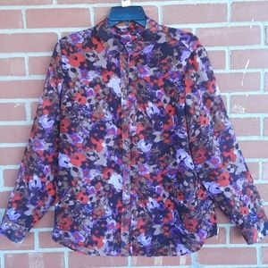 Coldwater Creek floral mod art blouse, sz L